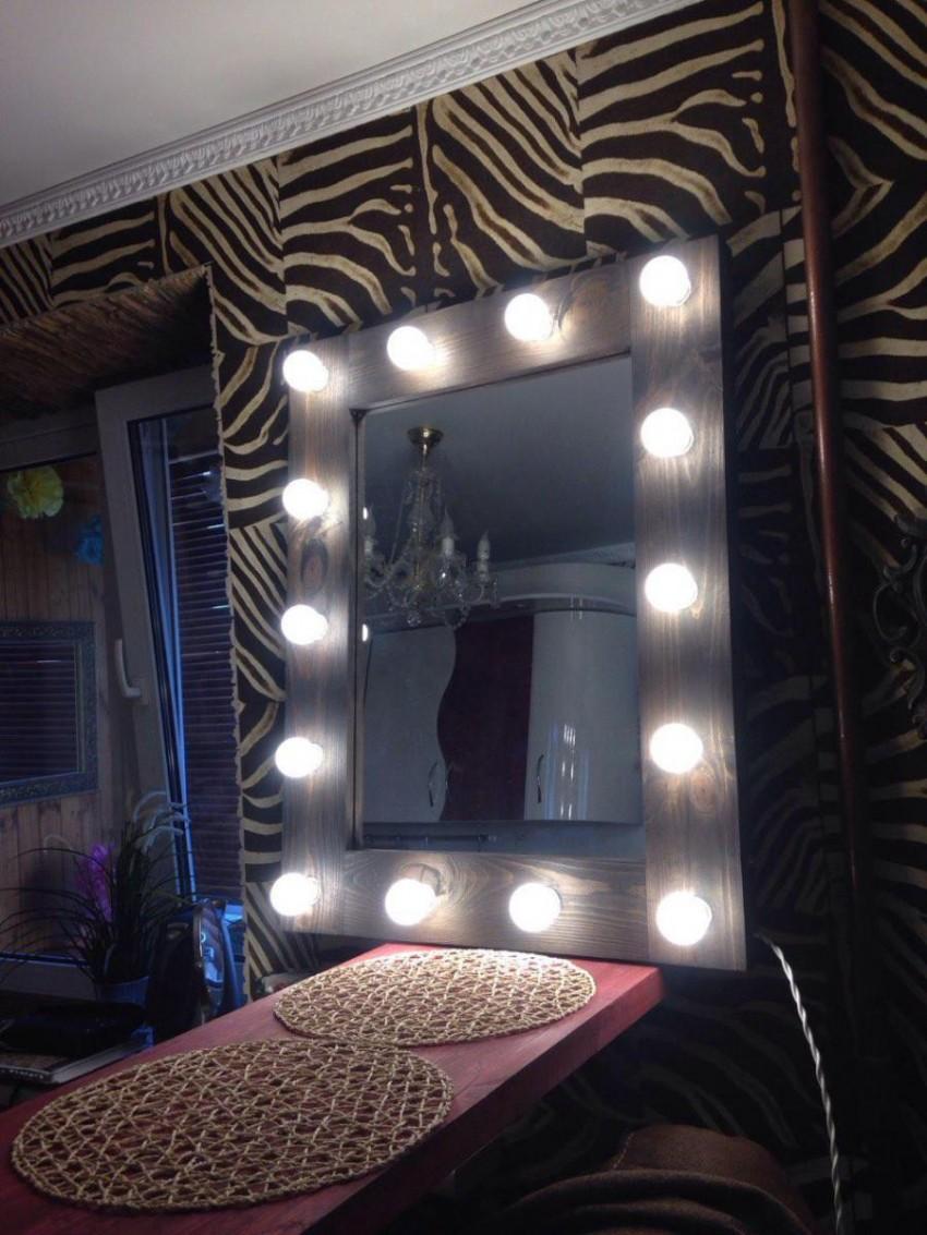 Зеркало с лампами по периметру своими руками